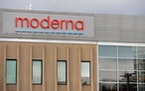 The Moderna logo is seen at the company's campus in Norwood, Massachusetts, on December 2, 2020, where the biotechnology company is mass producing i