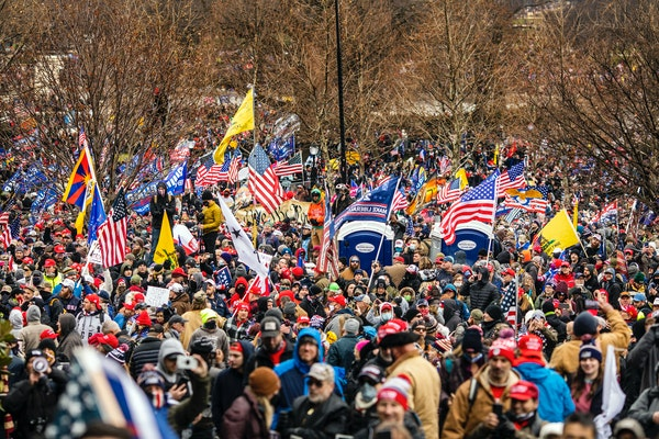 Supporters of then-President Donald Trump marched to the U.S. Capitol in Washington on Jan. 6, 2021.