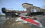 A bar with a patio lays in ruins after the passing of Hurricane Pamela in Mazatlan, Mexico, Wednesday, Oct. 13, 2021.