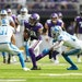 Vikings receiver Justin Jefferson (18) will likely be the focus of Carolina's pass defense as he was against the Lions on Sunday.