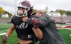 Anoka's Logan LaChance practiced with coach Jeff Buerkle and his teammates Tuesday afternoon. ] ANTHONY SOUFFLE • anthony.souffle@startribune.com