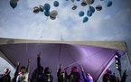 At George Floyd Square in Minneapolis on October 14, 2021, family members and friends released balloons on  what would have been George Floyd�s 48th