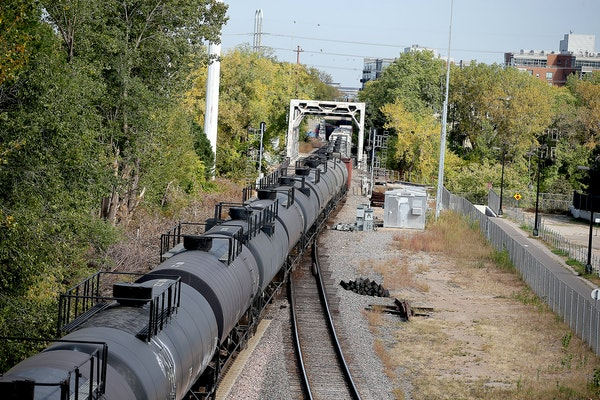 A train carrying oil made its way along the tracks near downtown Minneapolis in 2015.