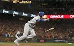 Los Angeles Dodgers' Cody Bellinger runs to first base after hitting an RBI-single against the San Francisco Giants