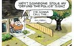Sack cartoon: Who are you gonna call?