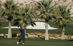 Keith Mitchell hits from the ninth fairway during the second round of the CJ Cup at the Summit Club in Las Vegas
