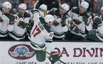 Wild left wing Marcus Foligno celebrates after scoring against the Ducks in the final seconds of regulation Friday night.