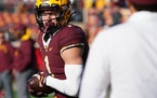 The Gophers warmed up before facing off against the Nebraska Cornhuskers on Saturday, Oct. 16, 2021 at Huntington Bank Stadium in Minneapolis.