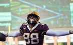 Gophers tight end Brevyn Spann-Ford (88) celebrated after his first quarter touchdown in Saturday's 30-23 victory over Nebraska.
