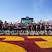The Gophers celebrated last Saturday's win against Nebraska at Huntington Bank Stadium.