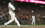 San Francisco Giants' Darin Ruf hit a home run against the Los Angeles Dodgers during the sixth inning of Game 5