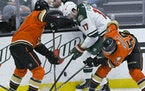 Anaheim defenseman Cam Fowler (4) and center Benoit-Olivier Groulx (50) vie for the puck with Wild left wing Marcus Foligno