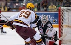 The Gophers' Chaz Lucius scored a goal during Friday night's series opener vs. St. Cloud State.