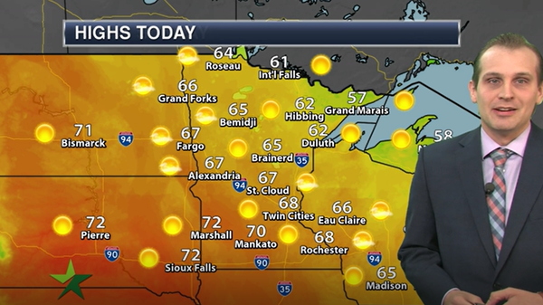 Afternoon forecast: Sunny, high 68, with cooler weather on the way