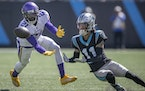 Vikings cornerback Bashaud Breeland (21) intercepted the ball intended for Panthers wide receiver Robby Anderson (11) in the first quarter, Sunday, Oc