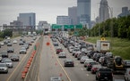 Lane closures and downtown exits slowed down the early morning commute into downtown from the 35th street bridge, Monday, June 11, 2018 in Minneapolis