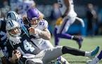 Vikings defensive tackle James Lynch had one of four sacks of Carolina quarterback Sam Darnold.