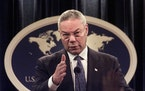 FILE - In this Monday, Sept. 17, 2001 file photo, Secretary of State Colin Powell speaks during a news conference at the State Department in Washingto