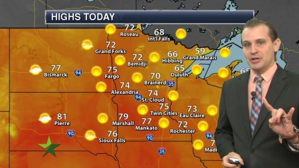 Morning forecast: Warm, windy; high 75