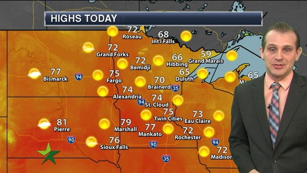 Afternoon weather: Sunny with a high of 75