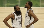 Nets stars James Harden and Kevin Durant power a team that is aiming for its first NBA title, with or without Kyrie Irving.