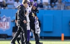 Vikings cornerback Patrick Peterson was helped off the field in the fourth quarter Sunday.