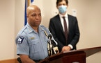 In the months after George Floyd's death, Minneapolis Police Chief Medaria Arradondo, left, and Mayor Jacob Frey announced a series of police poli