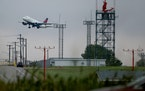 Seen from a service road west of Highway 77, a plane takes off from MSP.    ]DAVID JOLES • david.joles@startribune.com