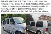 Gully Boys' alert about their stolen van and gear has been retweeted 800-plus times but has yet to turn up any solid leads.