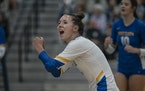 Ella Voegele shouts encouragement to her team in a recent match against Minnetonka.