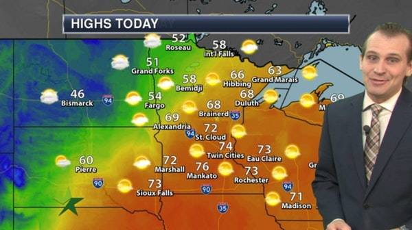 Morning forecast: One more warm day; high 74