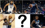 Who will join the Wolves starting lineup with (clockwise from top left) Karl-Anthony Towns, Anthony Edwards, D'Angelo Russell and Jaden McDaniels.