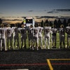 Lakeville South lined up for the national anthem before a game at Shakopee High School on Oct. 14.