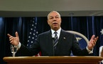 Secretary of State Colin Powell speaks to reporters during a news conference at the State Department in Washington on Jan. 8, 2004. Powell  died on Oc