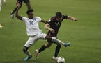 Joseph Rosales (14) competed for Honduras against Mexico during the Concacaf Men's Olympic qualifying championships on March 20 in Guadalajara, Mexi