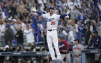 Los Angeles Dodgers center fielder Cody Bellinger reacted after hitting a three-run home run during the eighth inning.