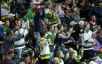 Fans cheered during the first period of Tuesday's Wild home opener at the Xcel Energy Center.