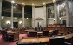The Senate chamber at the Capitol in Madison, Wis.