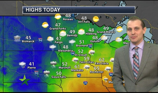 Afternoon forecast: High in upper 50s with scattered showers