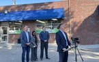 Minnesota Retailers Association President Bruce Nustad and a group of industry representatives held a news conference in front of Tobasi Tobacco on Se
