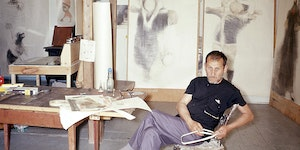 Fig. 2.18: Lasansky working on the Nazi Drawings in his studio in Vinalhaven, Maine.