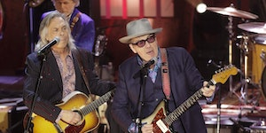 Elvis Costello, right, at 2019's Americana Honors & Awards show in Nashville.