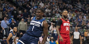 Timberwolves guard Anthony Edwards celebrates after a dunk against the Houston Rockets during the second quarter.