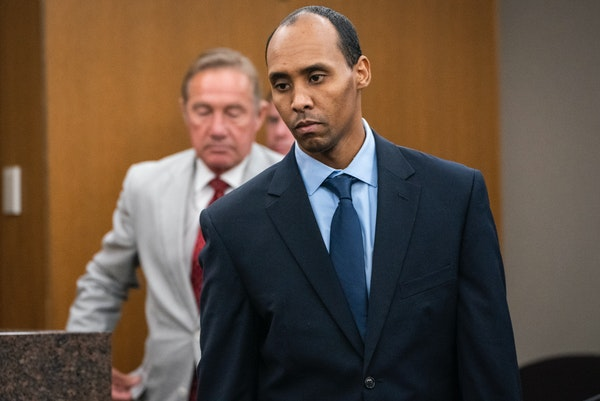 In this Friday, June 7, 2019 file photo, former Minneapolis police officer Mohamed Noor walks to the podium to be sentenced at Hennepin County Distric