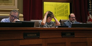 Council Member Cam Gordon (left) and Council Member Kevin Reich (right) attend a City Council meeting in July 2018. ] Shari L. Gross • shari.gross@s