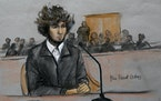 A courtroom sketch of Boston Marathon bomber Dzhokhar Tsarnaev in 2015.