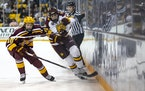UMD forward Noah Cates, right, battled for the puck with Gophers defenseman Jackson Lacombe when the teams met Oct. 26, 2019 in Duluth.