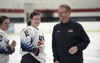 The U.S. Women's National Hockey Team plays Canada on Friday in Allentown, Pa., to start the teams' pre-Olympic Tour. Coach Joel Johnson (right) h