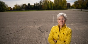 Lee Blons, CEO of Beacon Interfaith Housing Collaborative, stood at a parking lot in Shakopee where her organization hopes to build affordable apartme