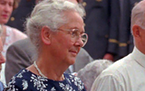 In this July 13, 1997, photo Lorli von Trapp Campbell attends a mass honoring her father, in Stowe, Vt. A funeral home confirmed Lorli von Trapp Cam
